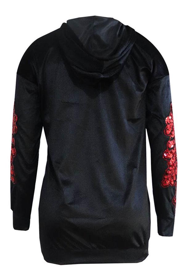 Lovely Casual Sequined Decorative Black Velvet Hoodies