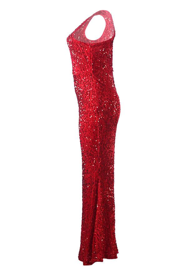 Precioso Vestido Largo Hasta El Suelo Con Lentejuelas Ahuecado