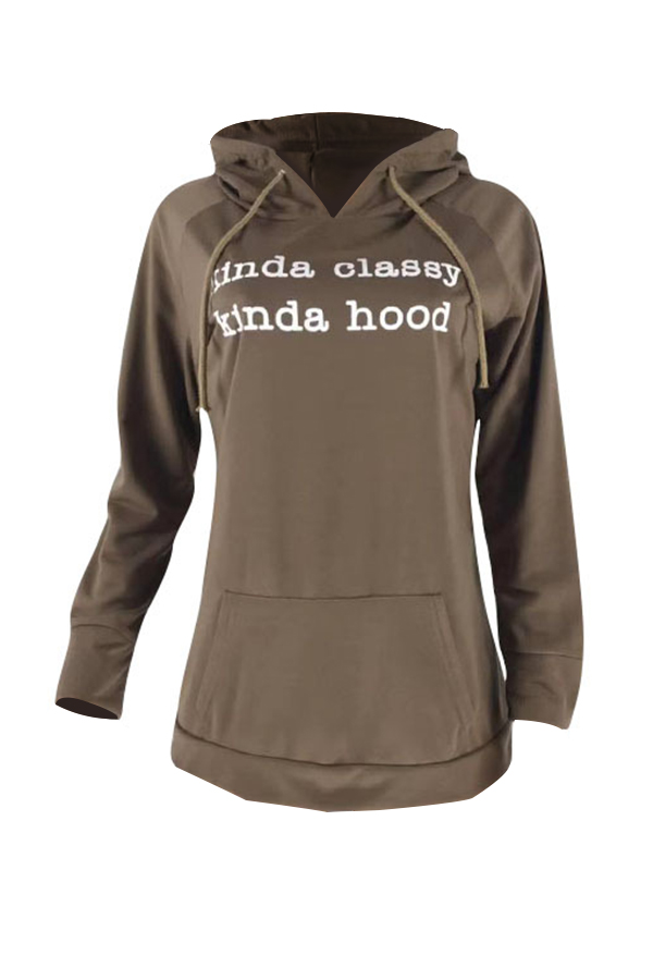 Lovely Casual Printed Deep Coffee Cotton Blends Hoodie