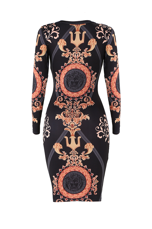 Lovely Casual Printed Gold Knitting Mid Calf Dress