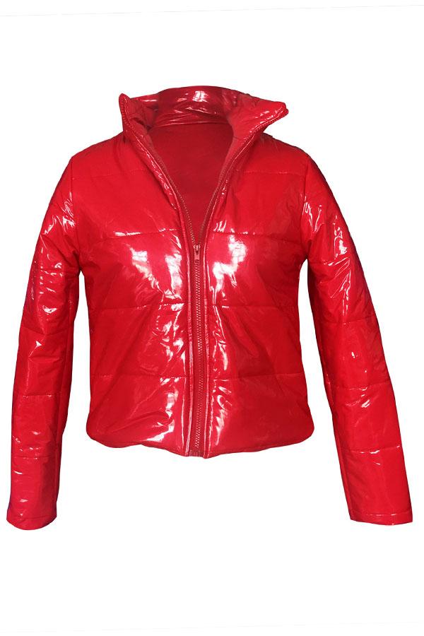 Lovely Casual Zipper Design Red Parkas Coat