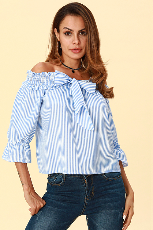 Lovely  Casual Striped Blue Blouses