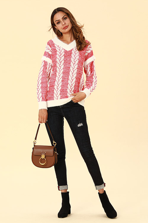 Lovely Casual Striped Red Sweaters