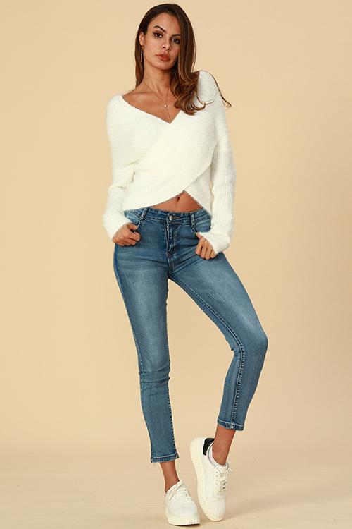 Lovely Trendy Cross-over Design  White Cotton  Cardigans