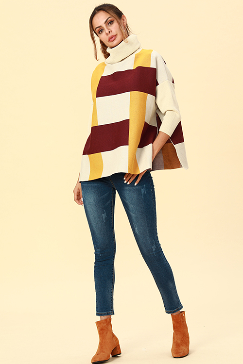 Lovely Chic Turtleneck Slit Yellow Acrylic Sweaters
