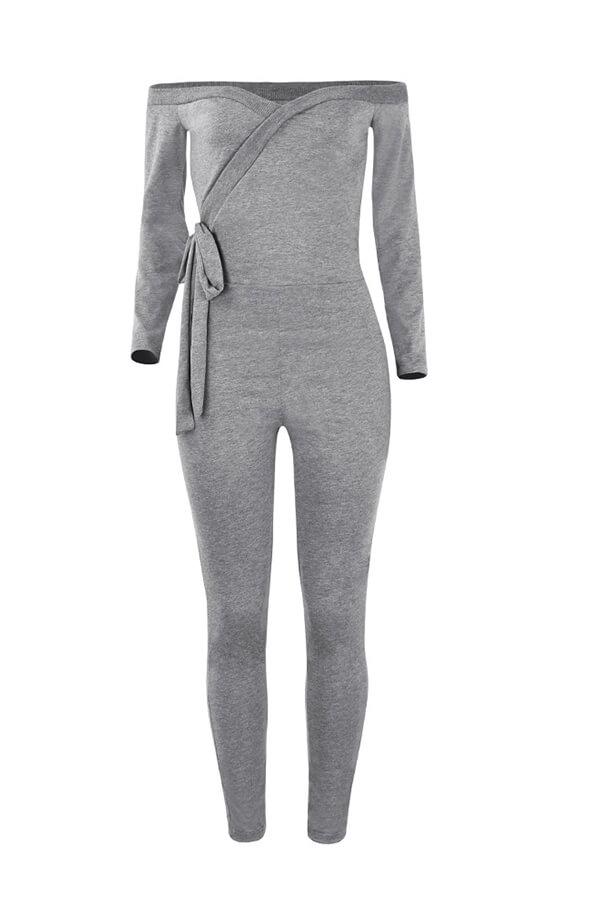 Lovely Trendy Dew Shoulder Skinny Light Grey Cotton One-piece Jumpsuit