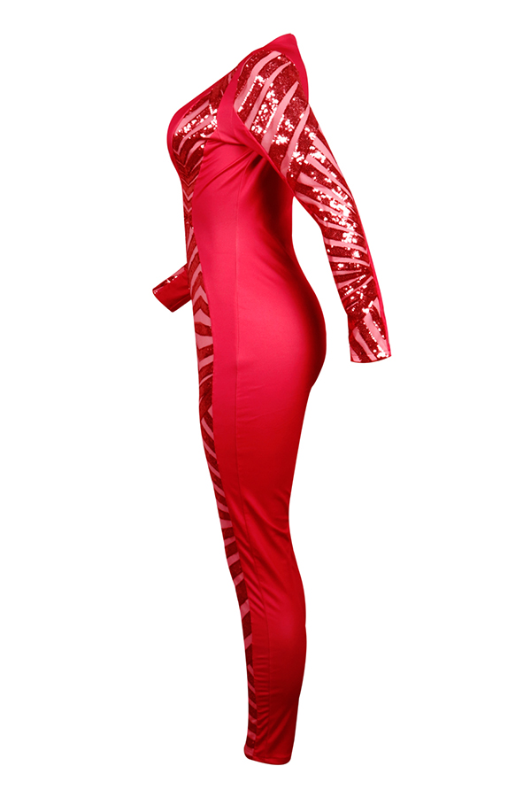 Lovely Trendy  Patchwork  Red Blending One-piece Jumpsuit
