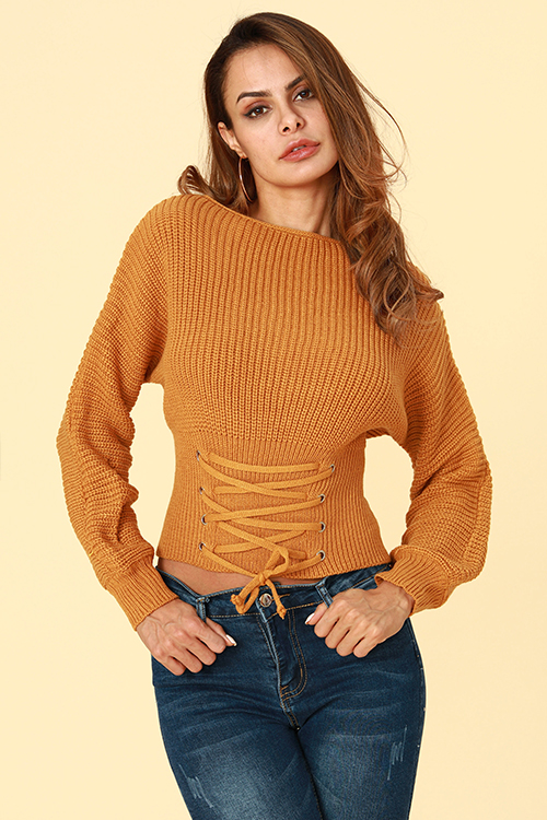Lovely Trendy Lace-up Khaki Sweaters
