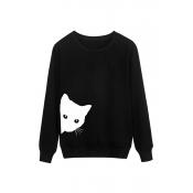 Lovely Casual Cat Head Printing Black Cotton Hoodi