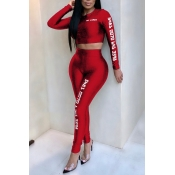Lovely Casual Letters Printed Red Polyester Two-piece Pants Set