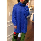 Lovely Fashion Loose Version Blue Blending Sweater