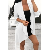 Lovely Casual Irregular White Coats
