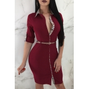 Lovely Sexy Patchwork Wine Red Knitting Knee Lengt