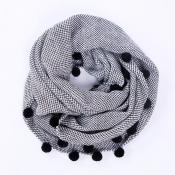 Lovely Fashion Maomao Ball Decorative Black Scarve