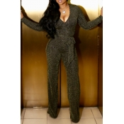 Lovely Sexy Long Sleeves Belted Gold One-piece Jumpsuit