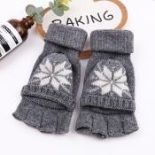 Lovely Fashion Snowflakes Grey Half-finger Gloves