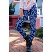 Lovely Trendy Leopard Print Blue Knitting Pants
