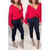 Lovely Fashion Both Sides Cross Red Sweaters