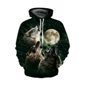 Lovely Casual Printed Black Cotton Hoodies