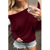 Lovely Casual Off-the-shoulder Wine Red Knitting H