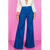 Lovely Casual Blue Cotton Horn Jeans