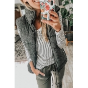 Lovely Casual Dark Grey Velvet Vests