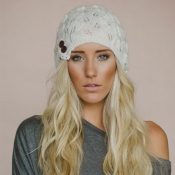 Lovely Casual White Acrylic Hats