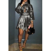 Lovely Euramerican Lantern Sleeves Silver Mini Dress