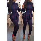Lovely Casual Long Sleeves Plaids Deep Blue One-piece Jumpsuit
