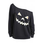 Lovely Casual Sloping Shoulder Halloween Black Hoo