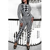 Lovely Casual Houndstooth Knitting Twilled Satin O