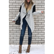 Lovely Casual Long Sleeves Patchwork Grey Cardigan