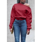 Lovely Trendy Long Sleeves Wine Red Sweatshirt Hoodie