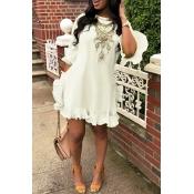 Lovely Sweet Ruffle Design White Blending Mini Dress