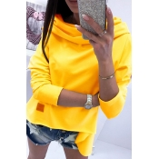 Lovely Casual Long Sleeves Yellow Hoodies