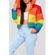 Прекрасный Случайный Полосатый Многоцветный Хлопок-padded Куртка
