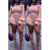 Lovely Sweet Long Sleeves Pink Sweater Two-piece S