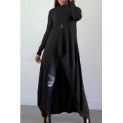 Lovely Casual Long Sleeves Irregular Black Blendin