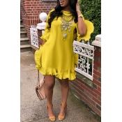 Lovely Sweet Ruffle Design Yellow Blending Mini Dress