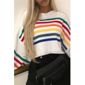 Lovely Sweet Striped Patchwork White Cony Hair Swe