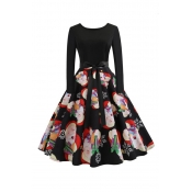 Lovely Sweet Christmas Printed Black Knee Length D