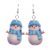 Lovely Likable Christmas Snowman Blue Earring