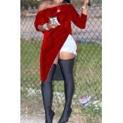 Lovely Vintage Irregular Hems Red Velvet Shirts