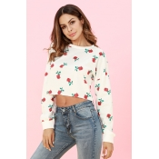 Lovely Casual Long Sleeves Printed White Cotton Ho