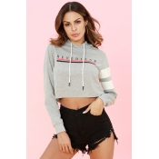 Lovely Casual Letters Printed Grey Cotton Short Ho
