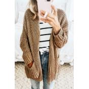 Lovely Casual Long Sleeves Pocket Khaki Sweater Ca