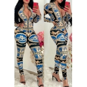 Lovely Sexy Printed Blue One-piece Jumpsuit