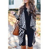 Lovely Casual Geometric Black Cardigan Sweaters