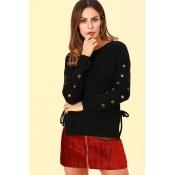 Lovely Euramerican Porous Design Black Cotton Blen