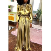 Lovely Trendy Loose Gold One-piece Jumpsuit (Witho